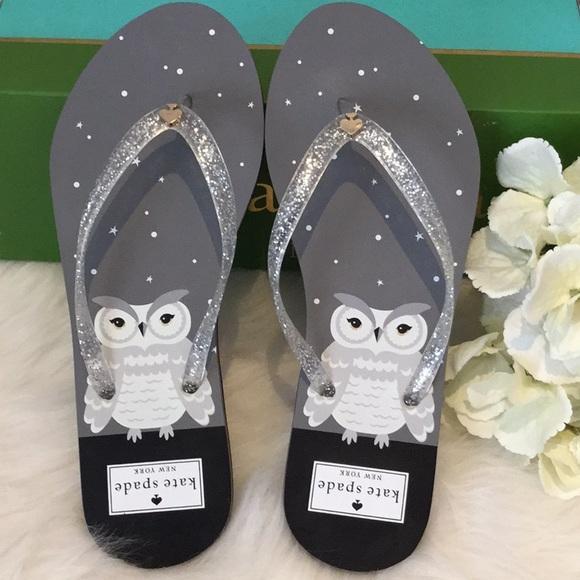 f99339a4f9d7f Kate Spade Silver Glitter Owl Print Flip Flops NWT NWT